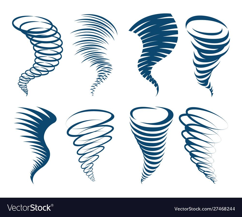 Whirlwind swirl storm icons set