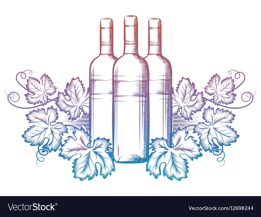 Wine bottle and grape leaves