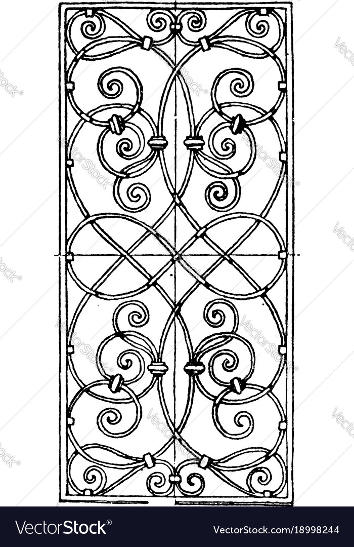 Wrought-iron grill oblong panel is a 17th century vector image