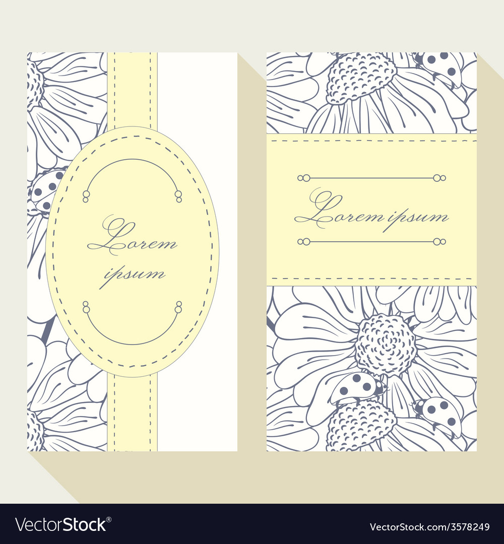 Business card set with outline ladybug and daisy vector image colourmoves