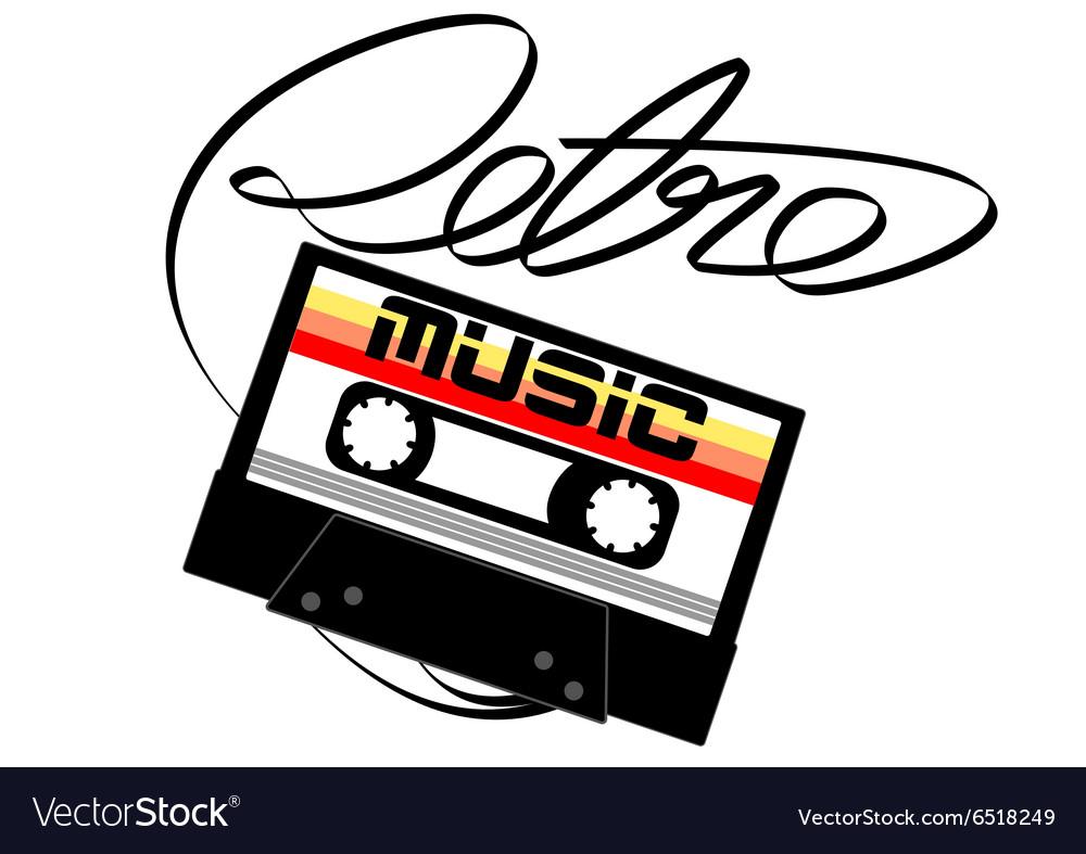 Cassette tape retro music on a white background