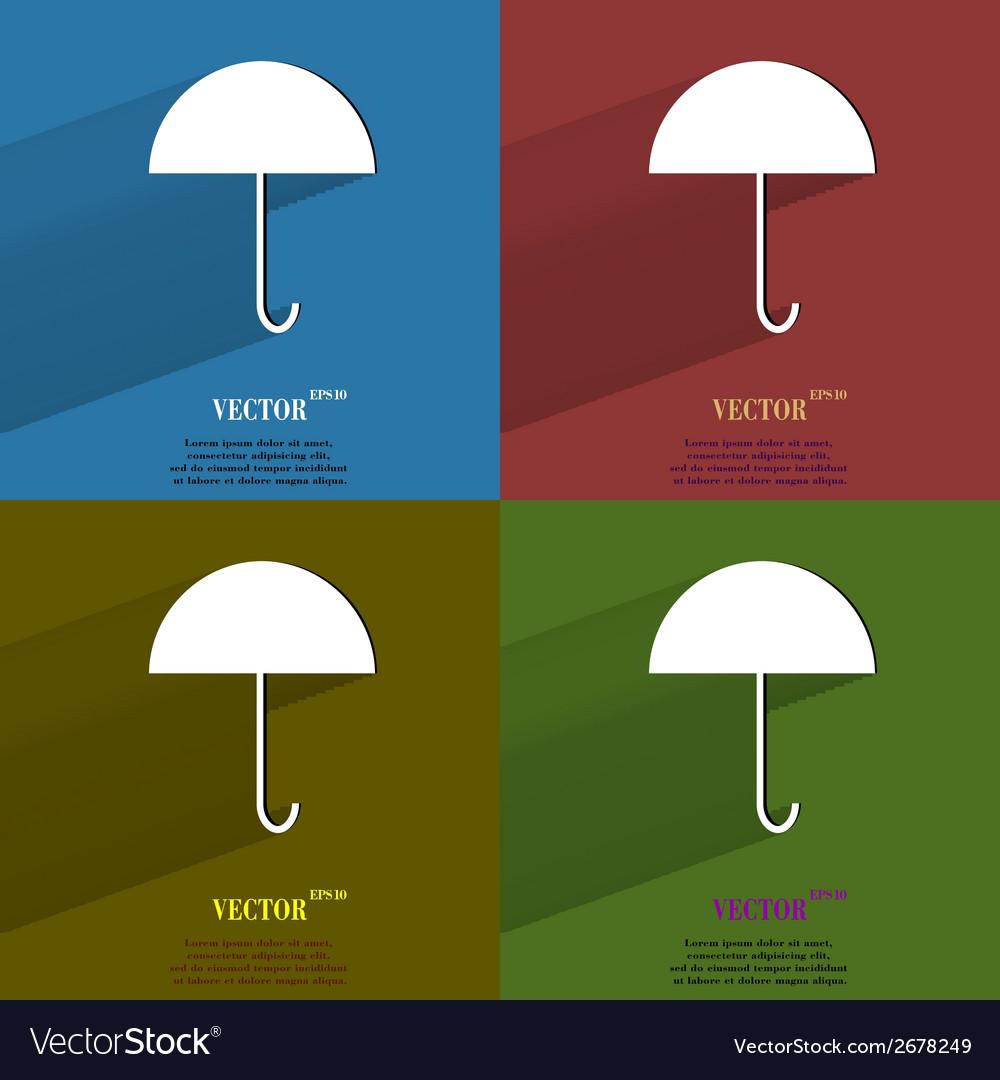 Color set Umbrella Flat modern web button with Vector Image