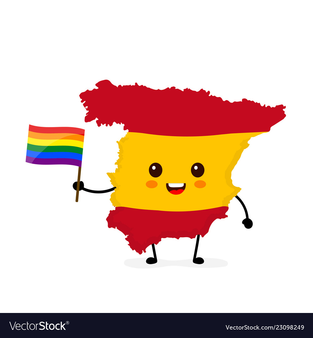 Cute funny smiling happy spain map