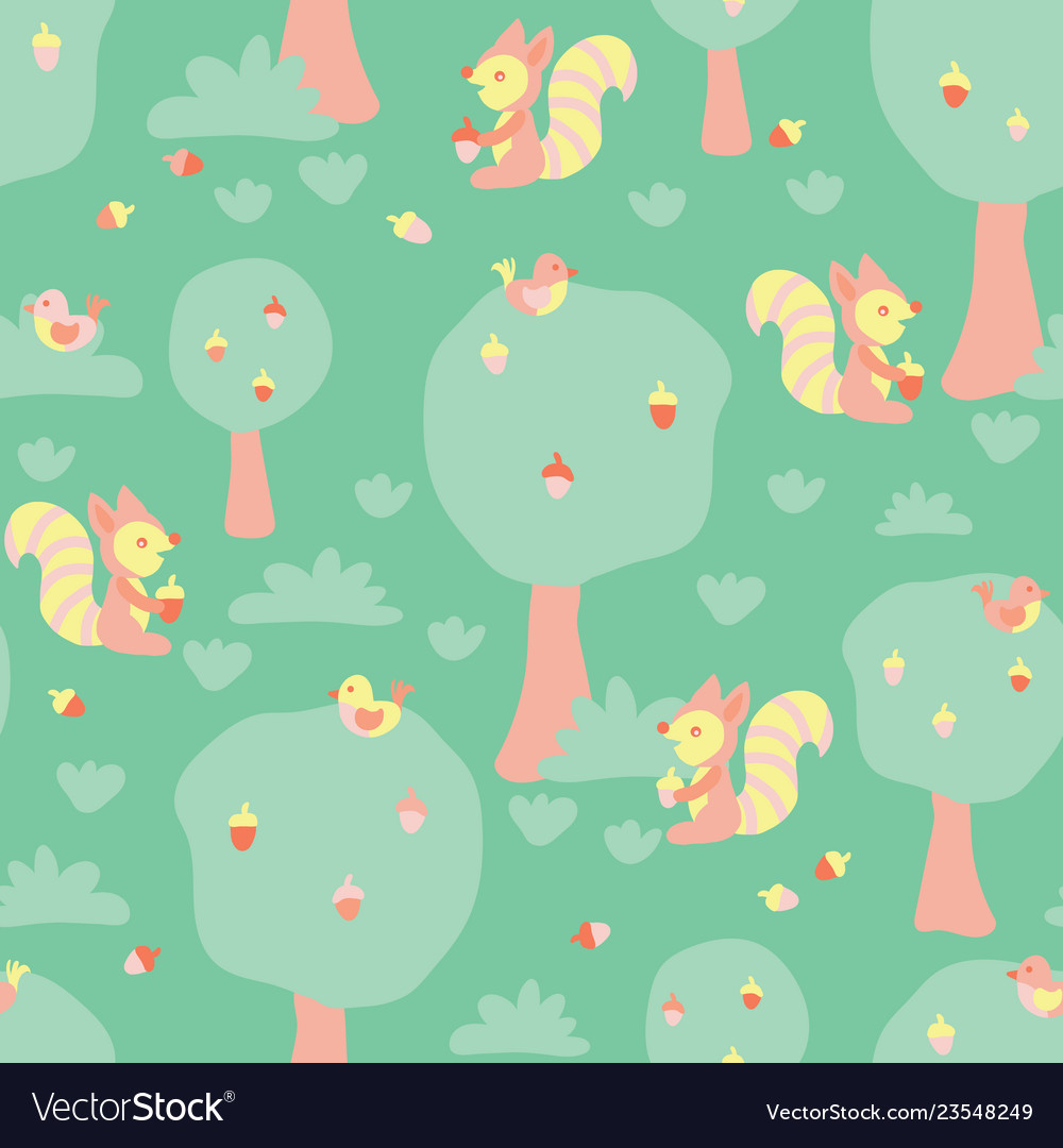 Cute kids pattern squirrels and birds in a forest