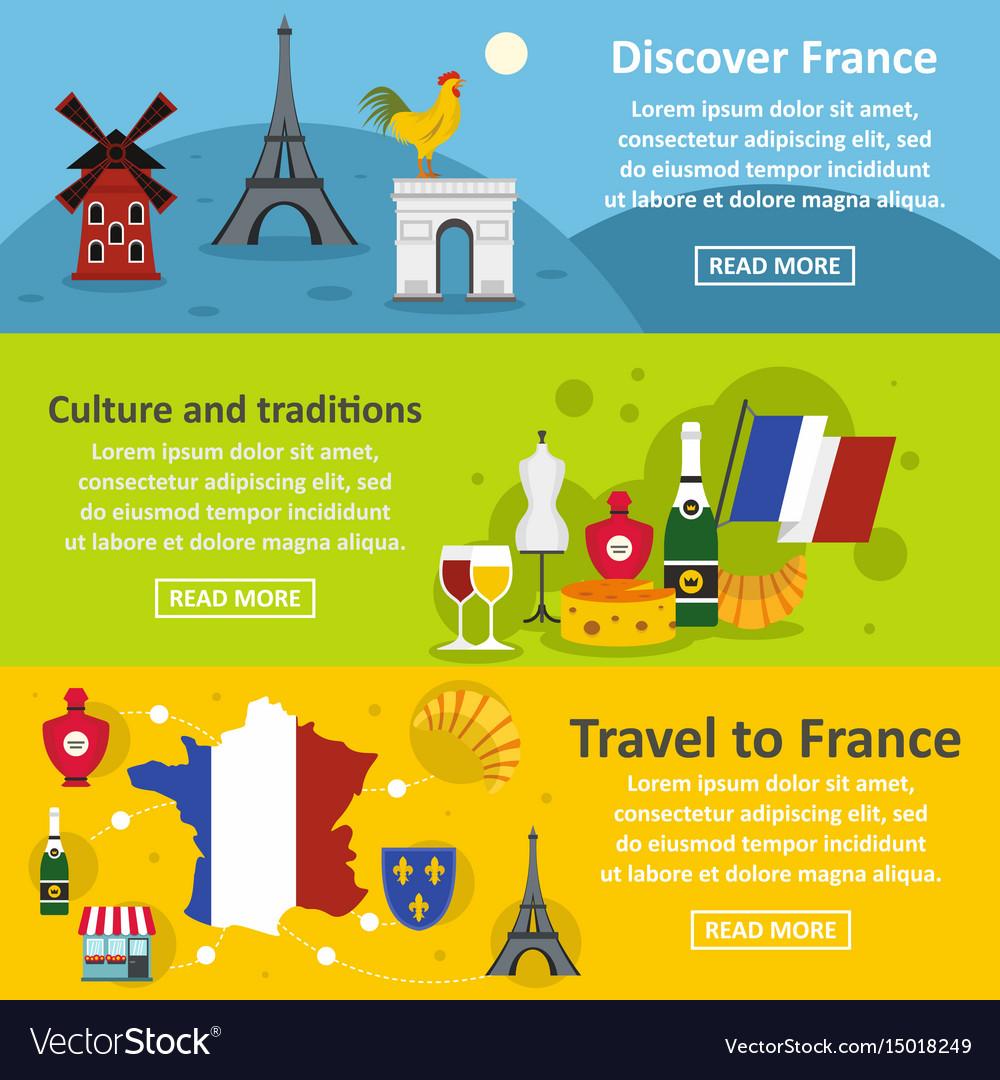 France travel banner horizontal set flat style vector image