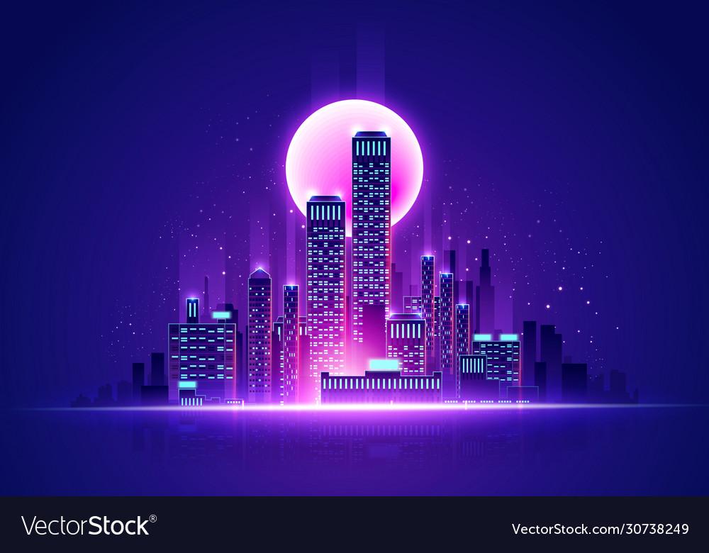 Futuristic neon glow skyline retro cyber cityscape