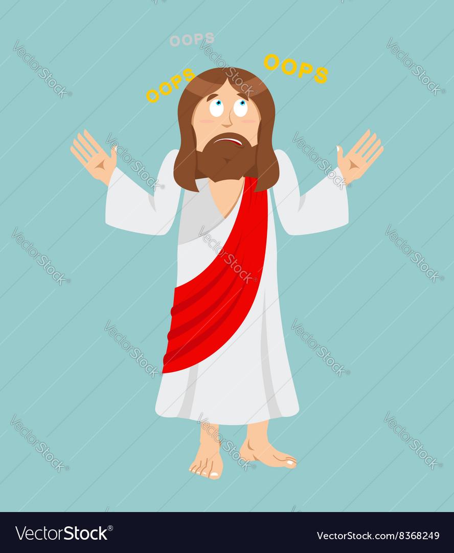 Jesus Christ Surprised Jesus Perplexed Jesus of vector image