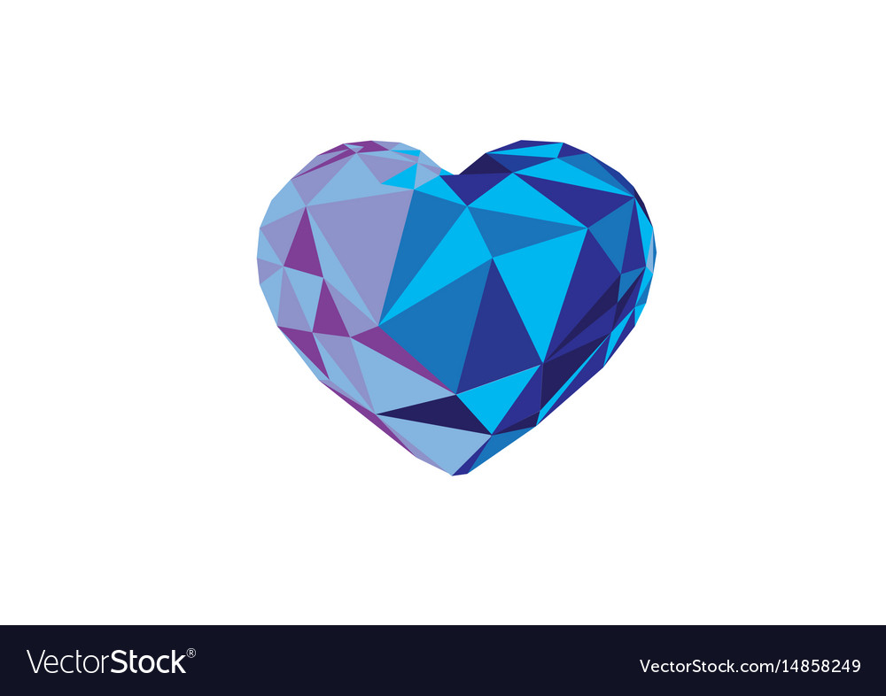 Low Poly Blue Crystal Bright Hearts