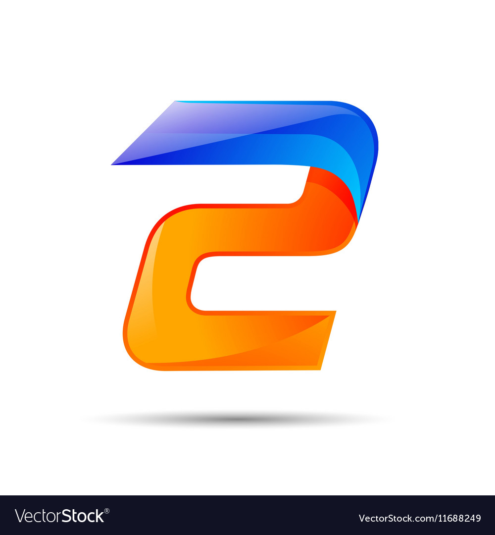 Number two 2 logo orange and blue color with fast