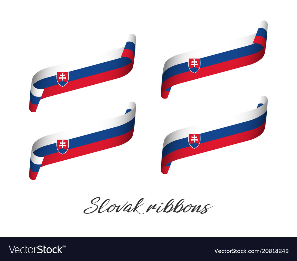 Set of four modern colored slovak ribbons