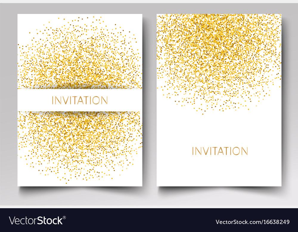 Template design of invitation gold glitter