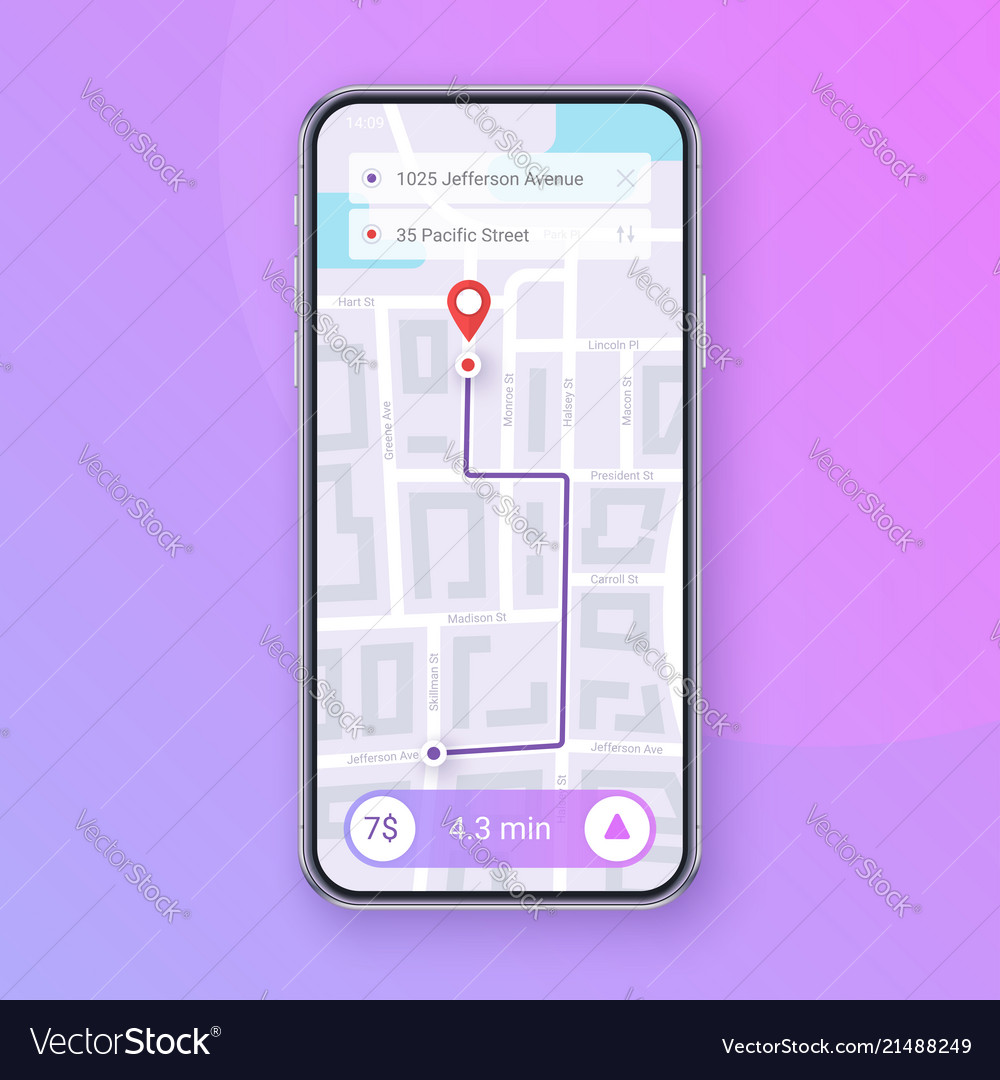 Trendy infographic of city map navigation mobile