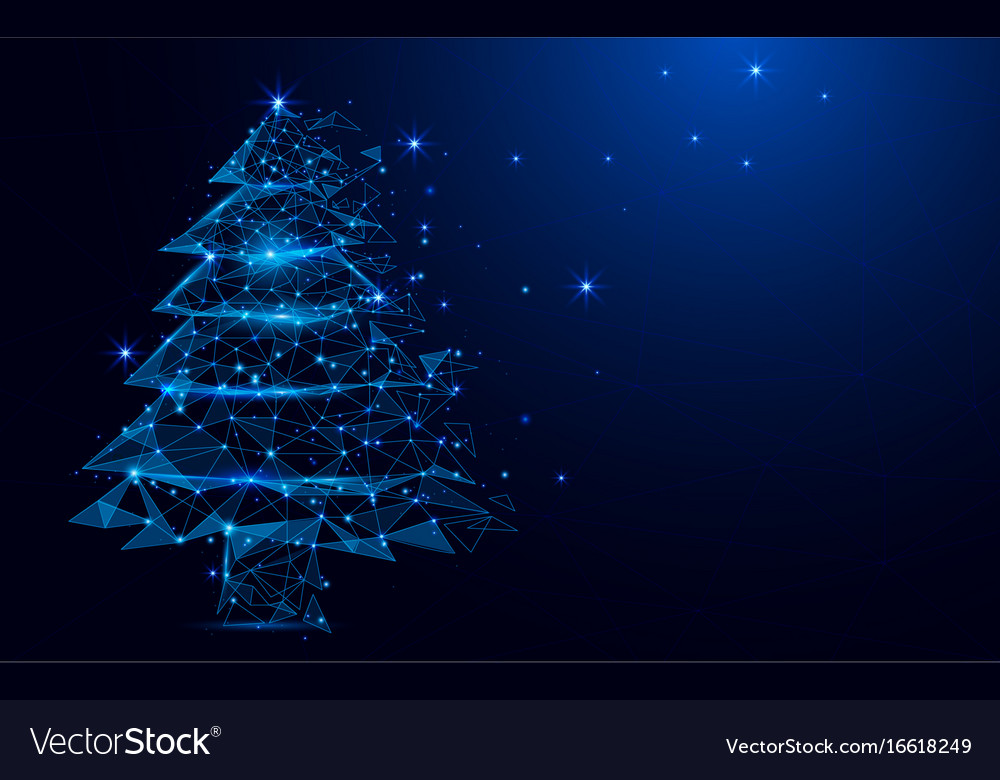 Wireframe a christmas tree sign mesh background Vector Image