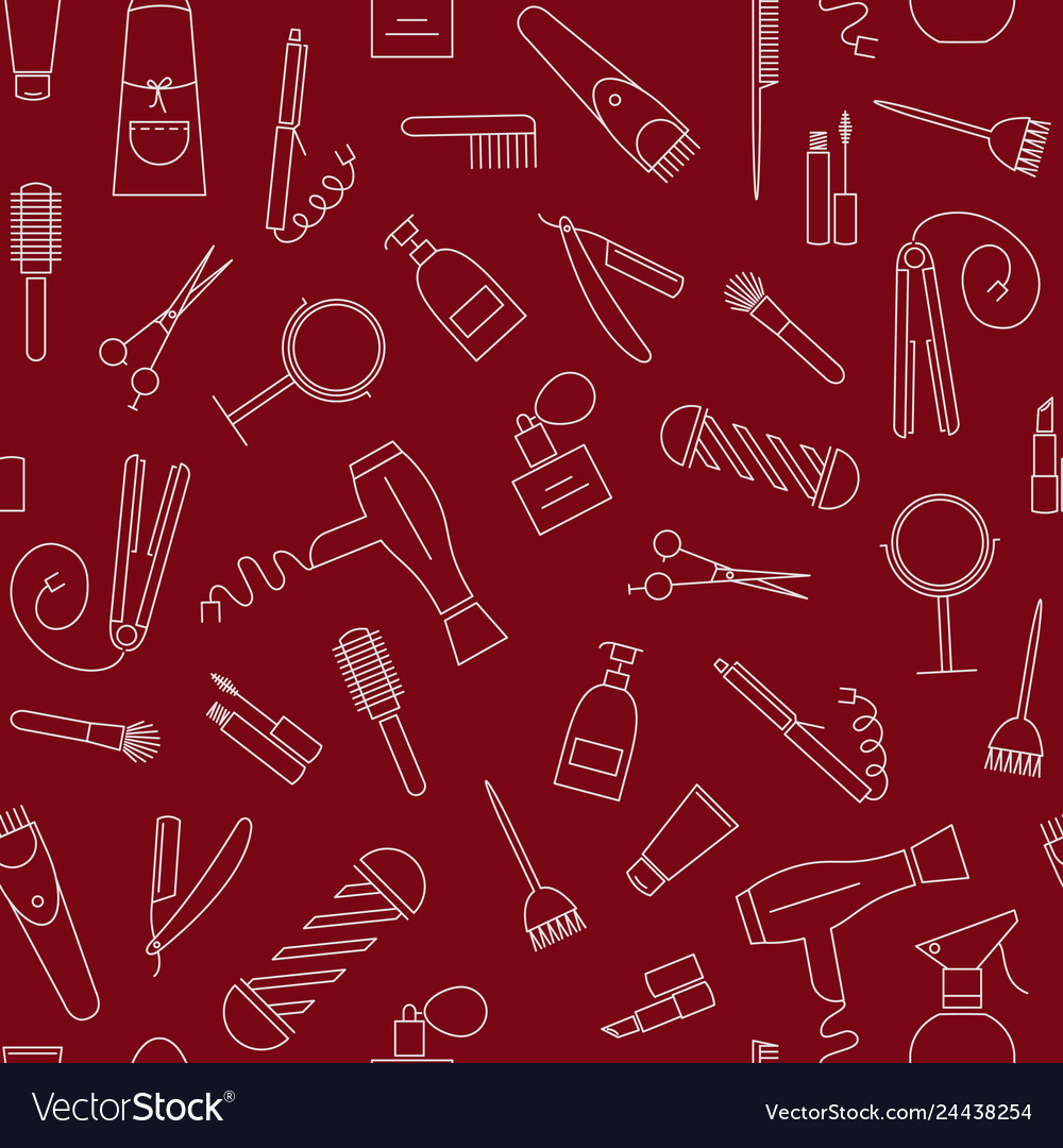Barber shop seamless pattern with line icons