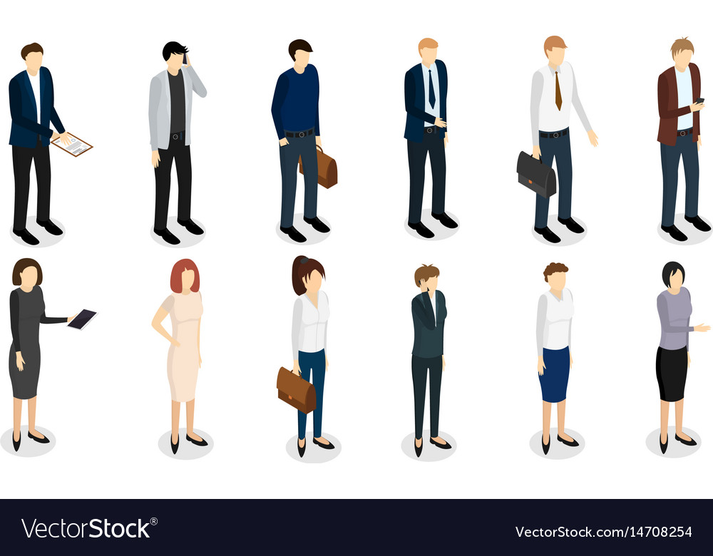 Business people set isometric view