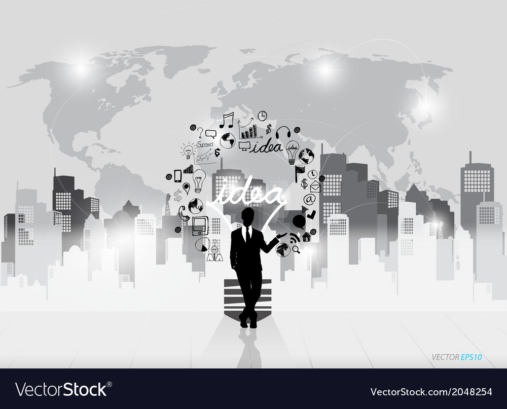 Business people silhouettes and light bulb as