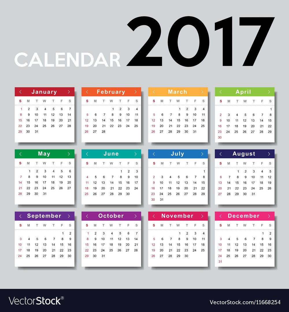 Calendar 2017 template design vector image