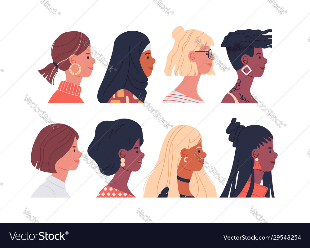Diverse women portrait set isolated