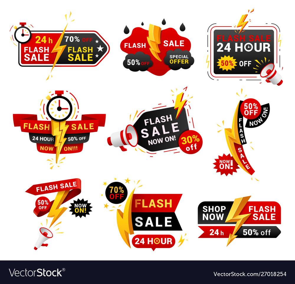 Flash sales shopping promotional labels set