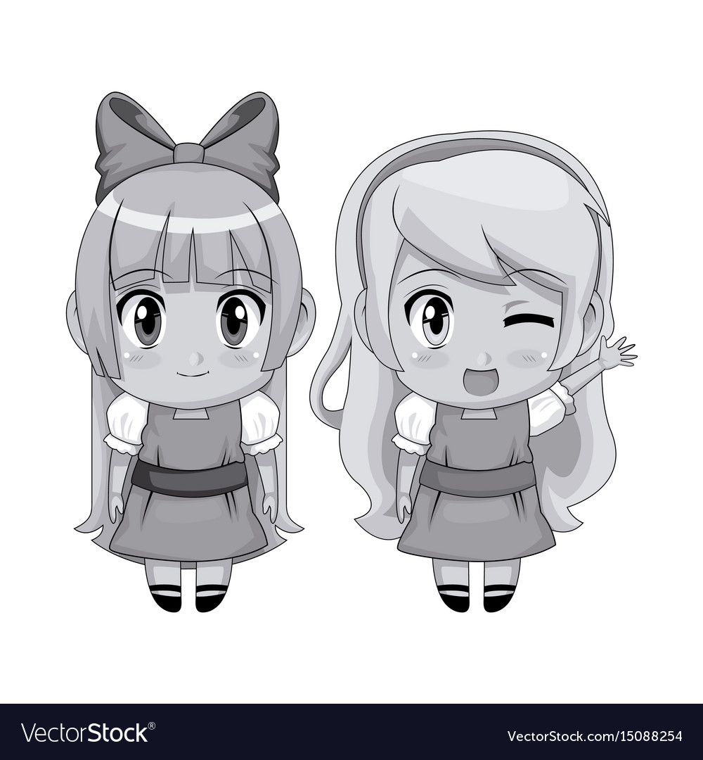 Monochrome full body couple cute anime girl facial vector image