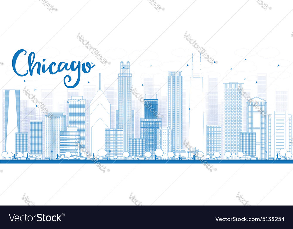 Outline Chicago city skyline