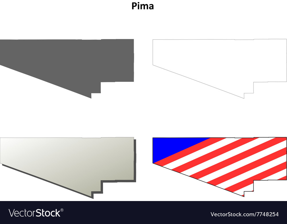 Pima County Arizona Outline Map Set Royalty Free Vector