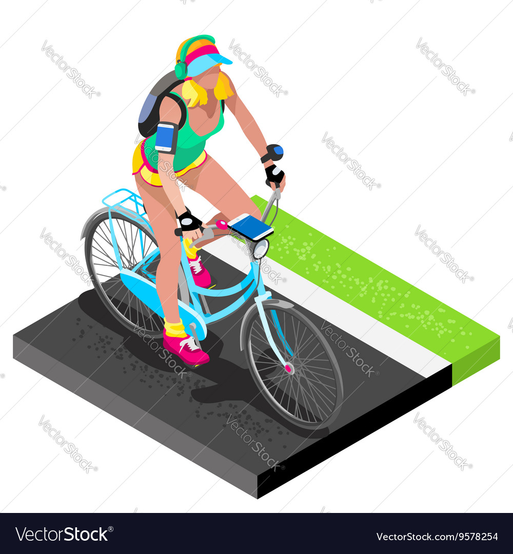 Road Cycling Cyclist Working Out Isometric 3D