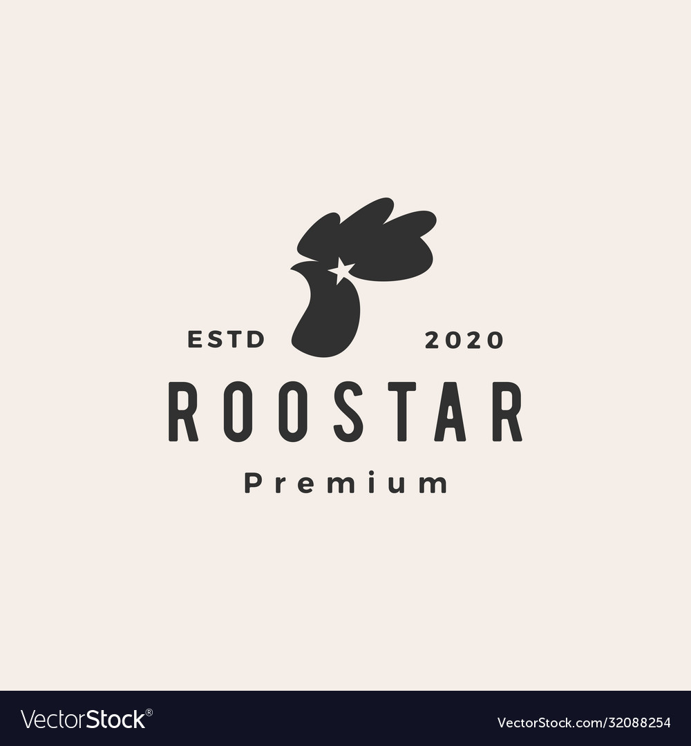 Rooster star roostar hipster vintage logo icon