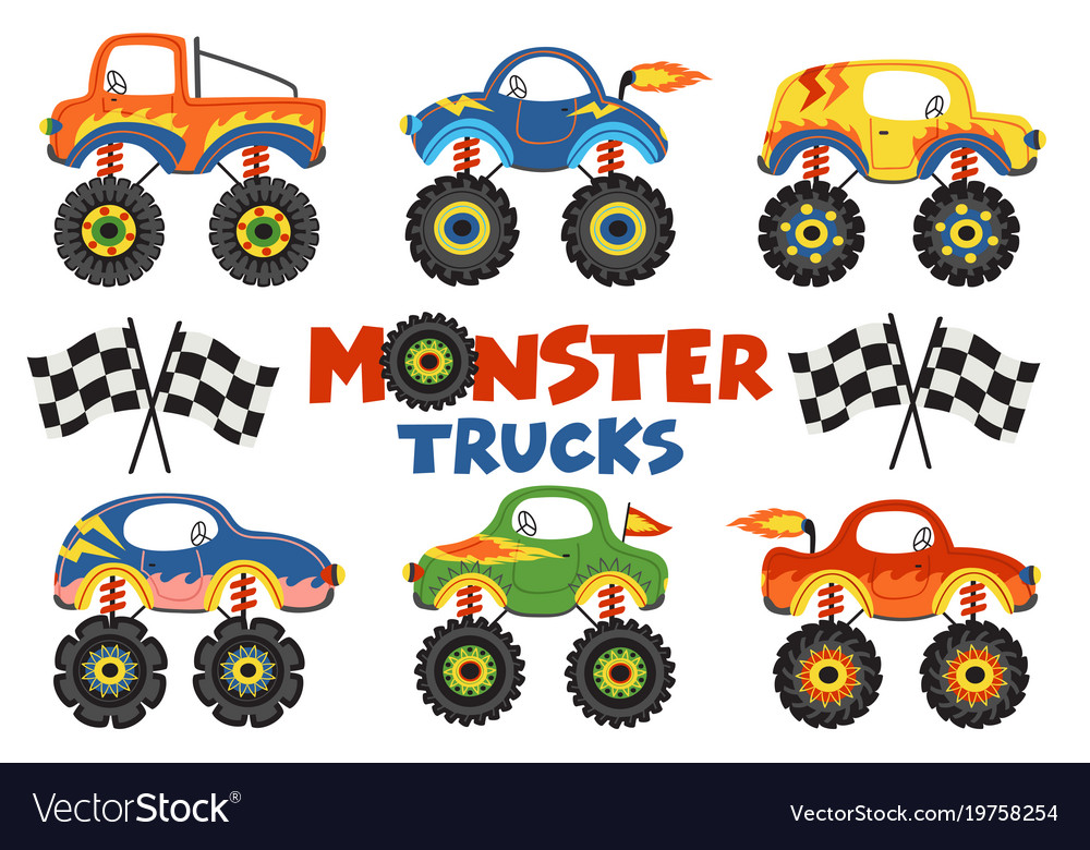 Set of isolated monster trucks vector image