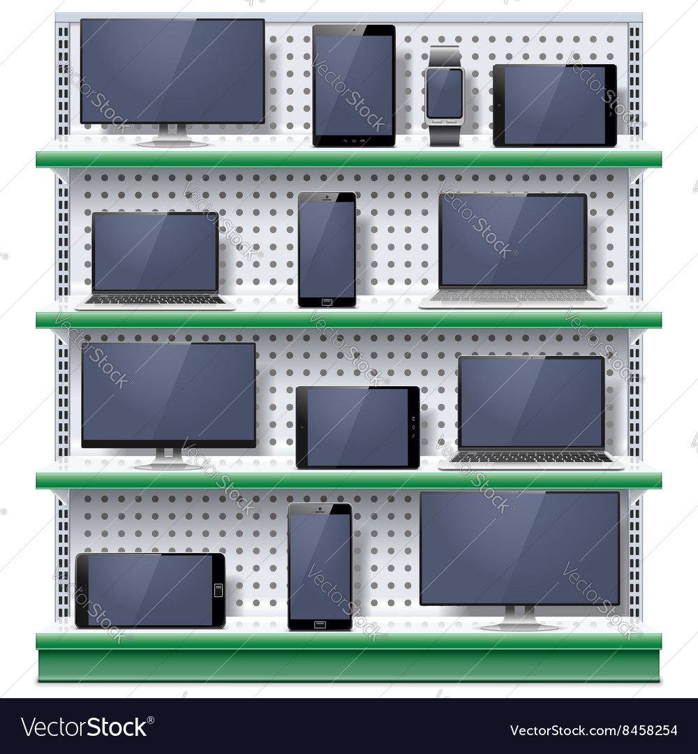 Shelves with Modern Electronic Devices
