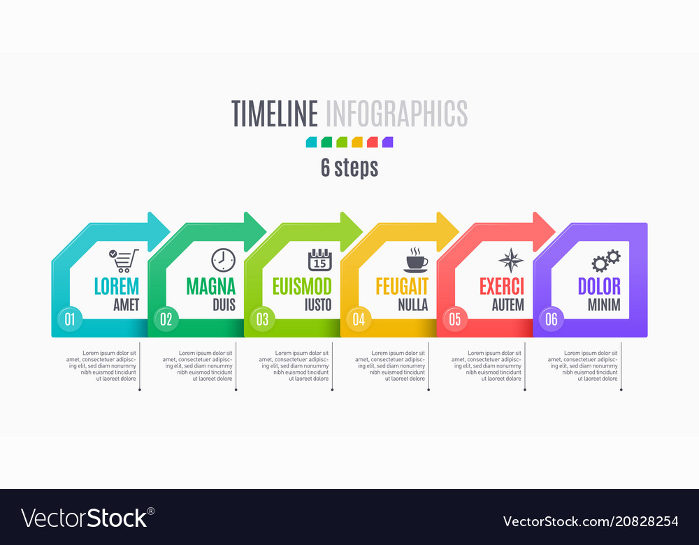 Six steps infographic timeline presentation
