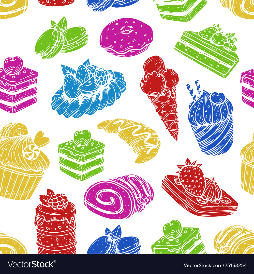 Sketch sweets and bakery in seamless pattern