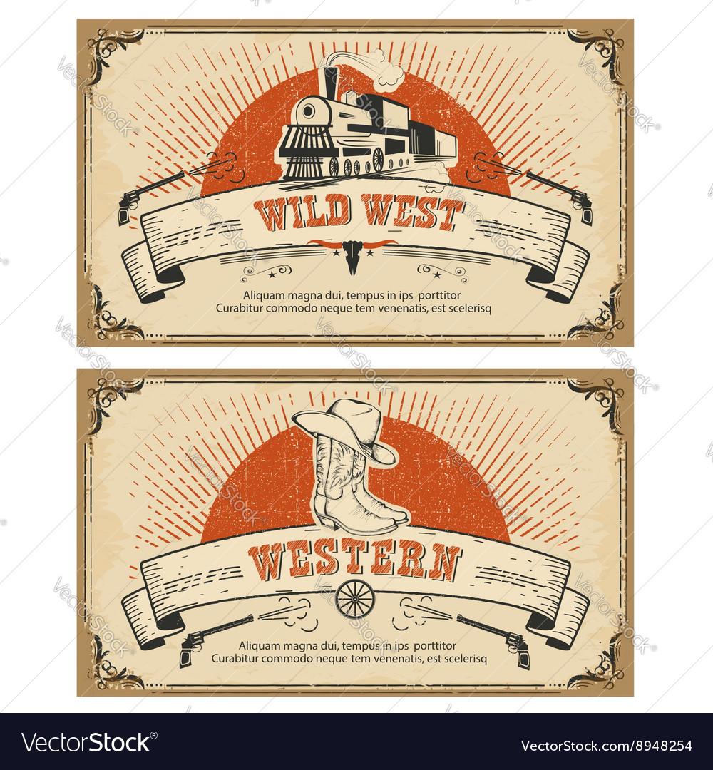 Vintage frame western cards
