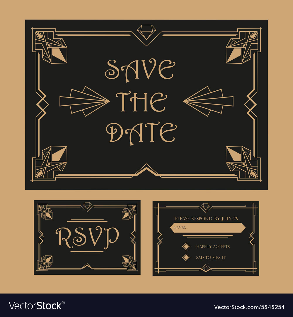 Wedding Save The Date And Rsvp Card Art Deco Vector Image