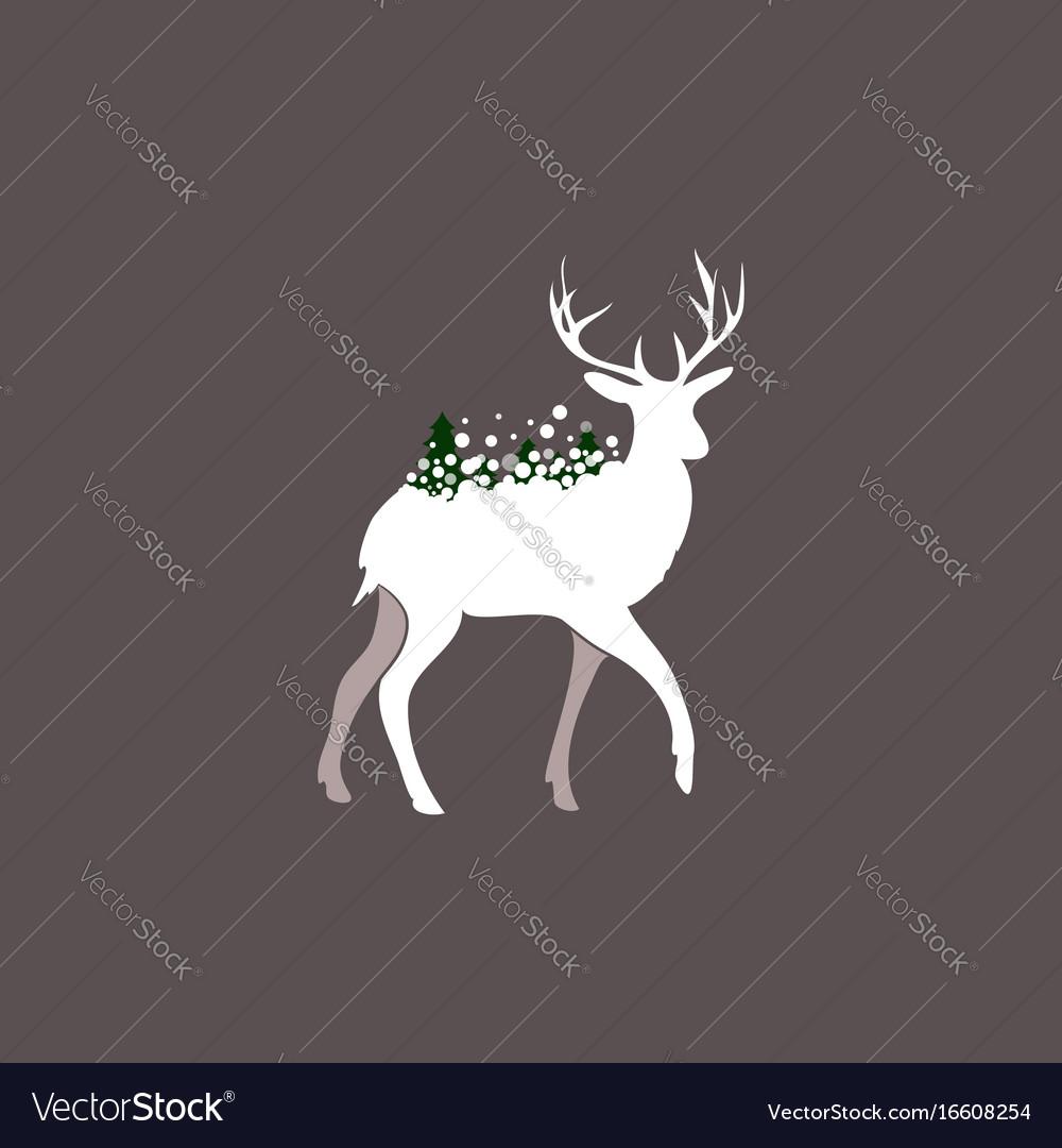 Winter deer silhouette vector image