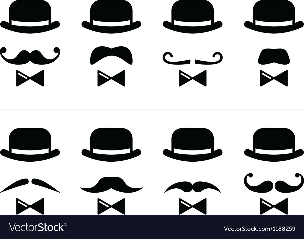 Gentleman icon - man with moustache and bow tie