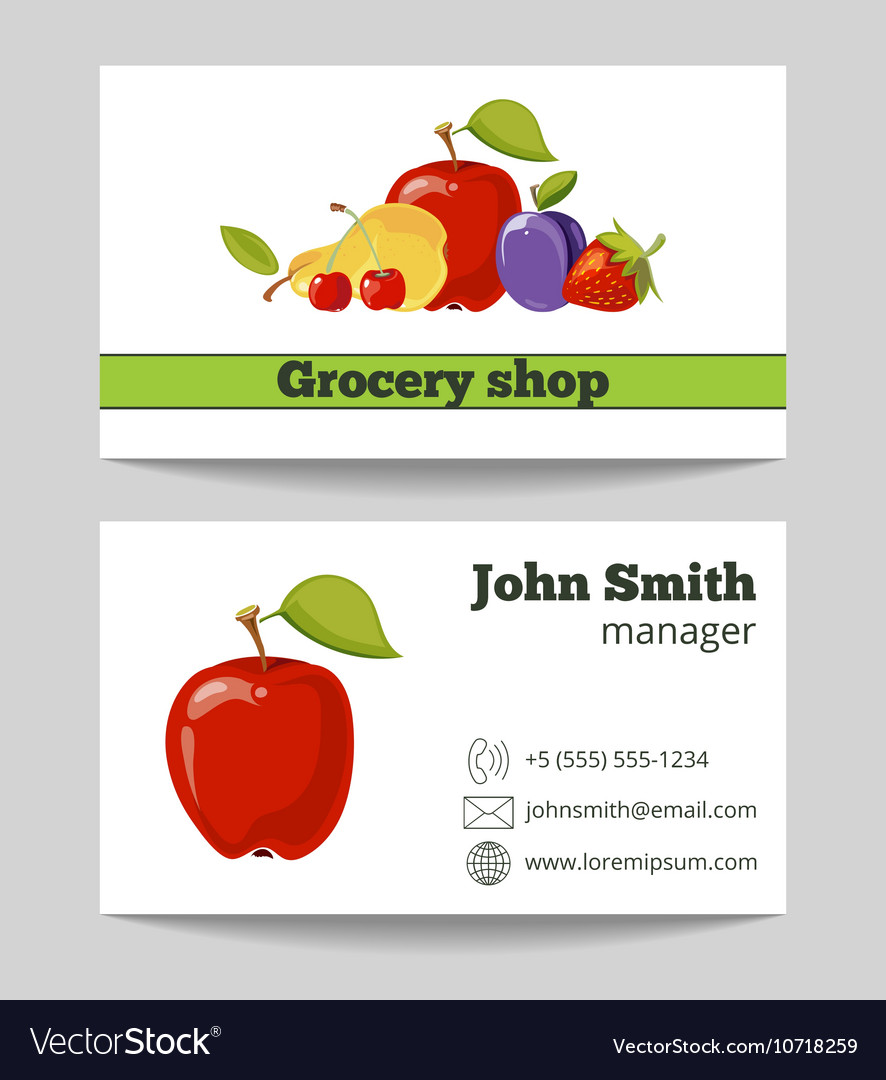 Grocery shop business card template vector image