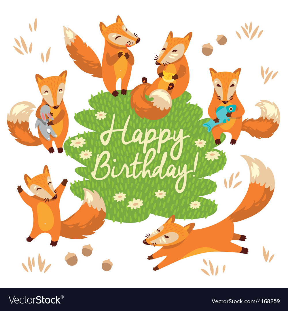 happy birthday fox Happy birthday card with cute foxes in Royalty Free Vector happy birthday fox