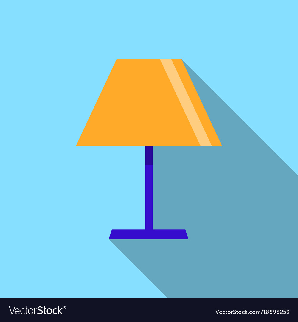 Lamp icon on the blue background with long shadow