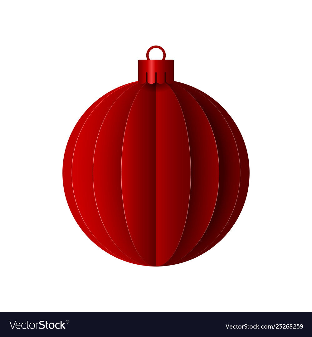 Red paper christmas origami ball design