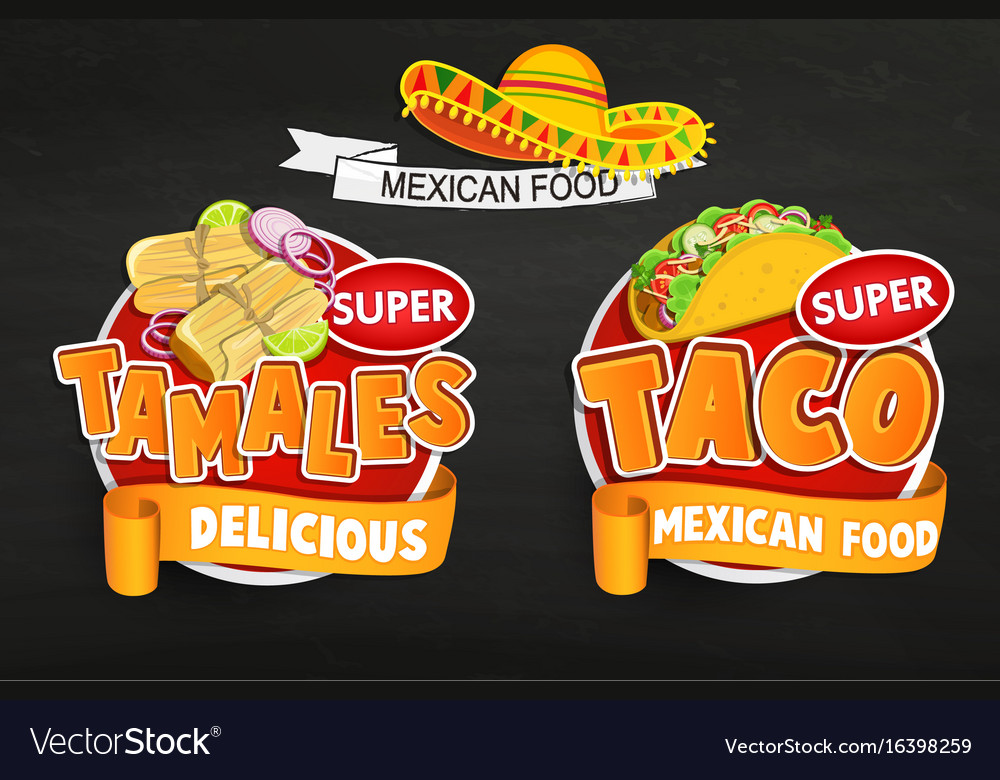 Set od traditional mexican food logos emblems