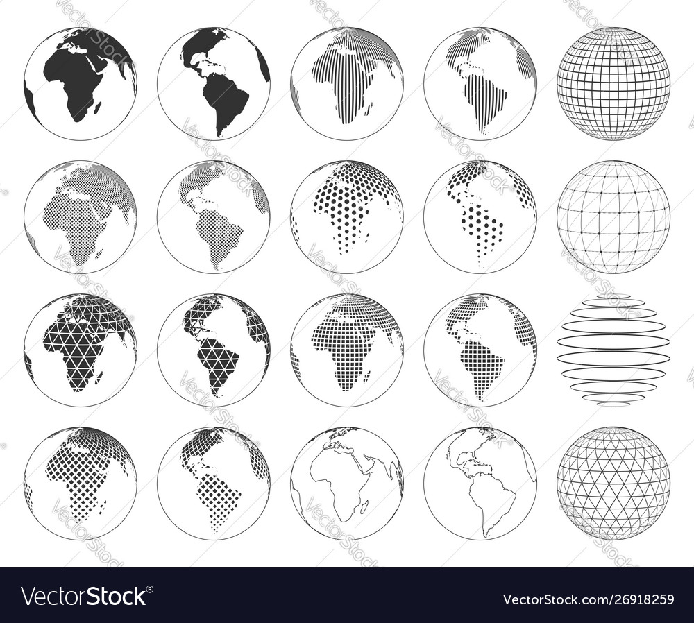 Set various three-dimensional abstract earth