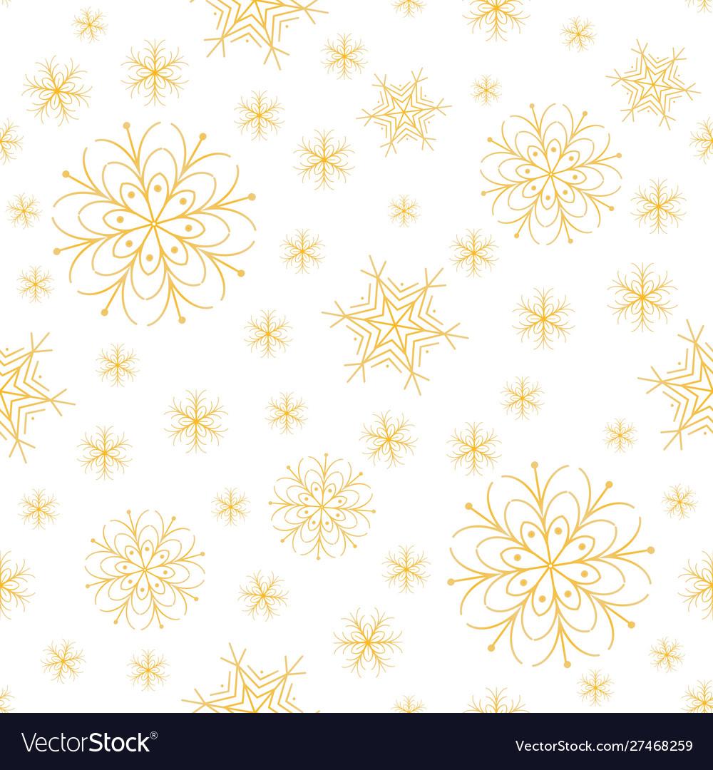 Snowflakes golden xmas design