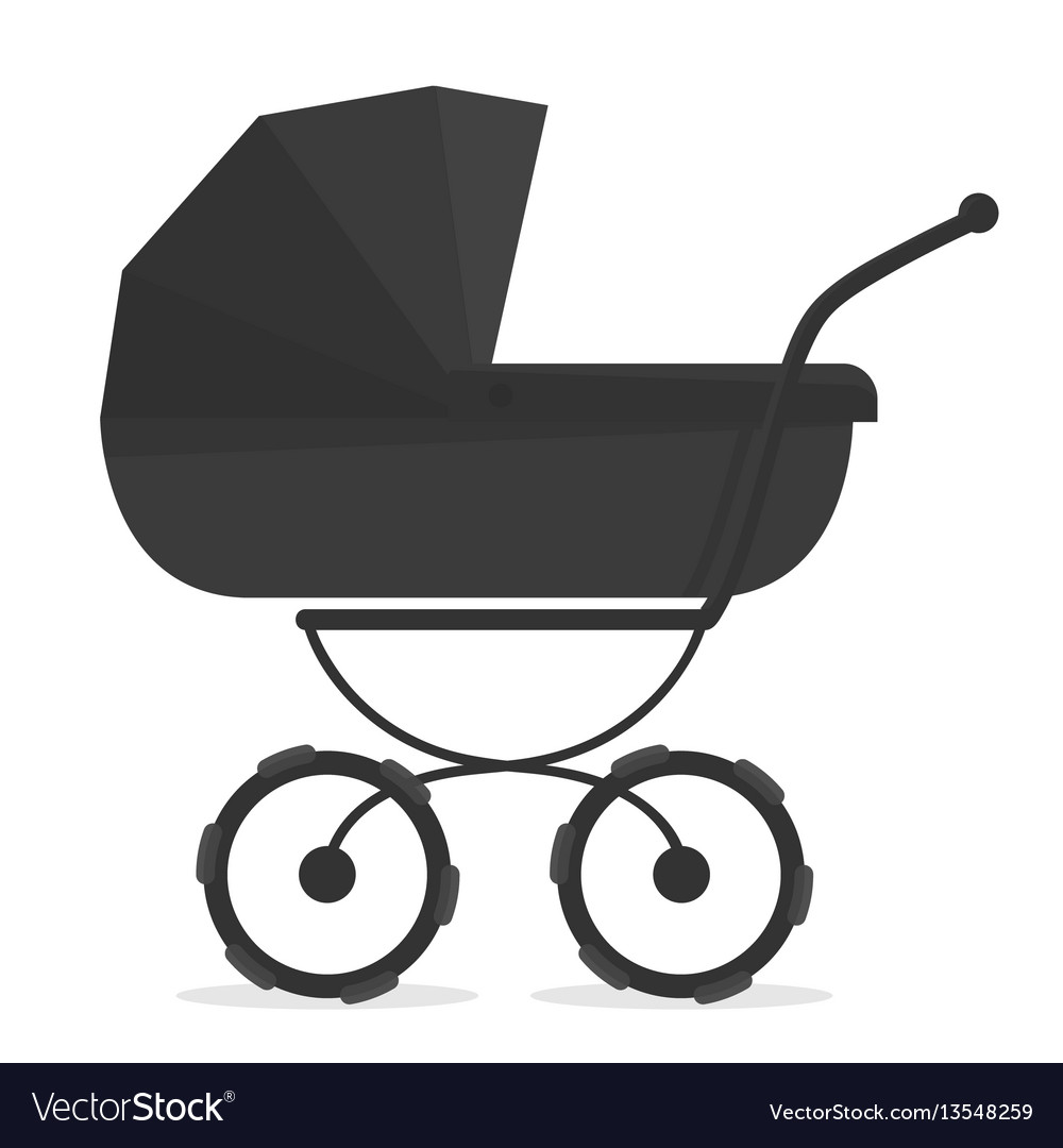 Stroller on white black and white silhouette for