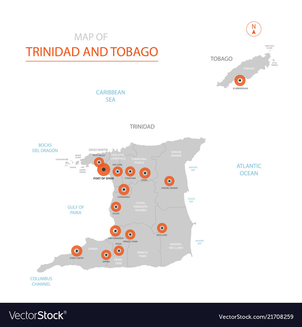 Trinidad and tobago map with administrative