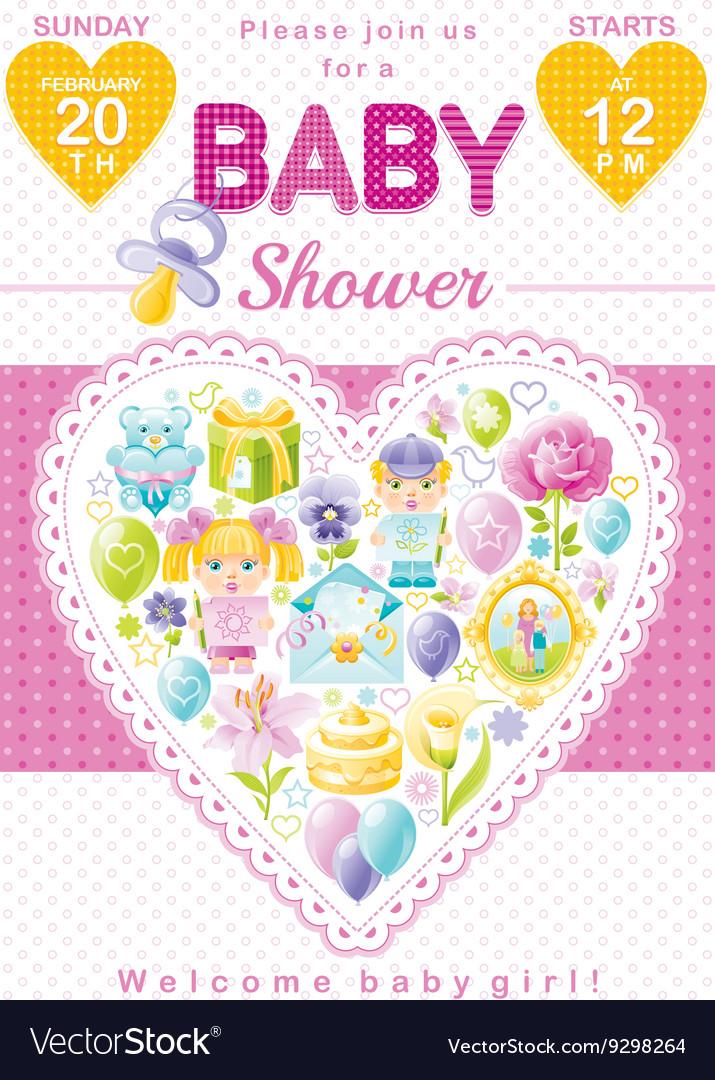 Baby shower invitation design in pink color for