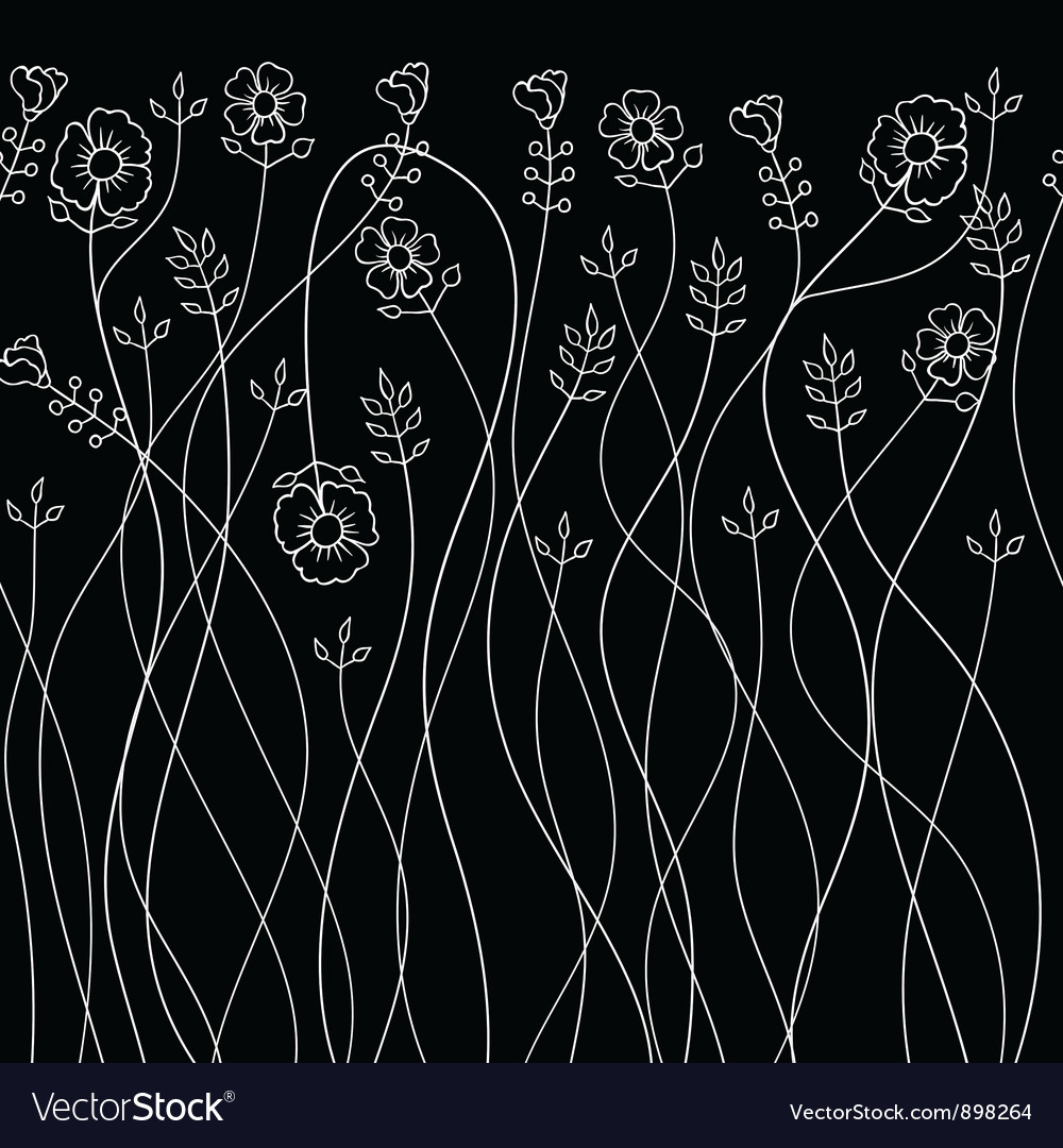 Background with hand drawn flowers Seamless