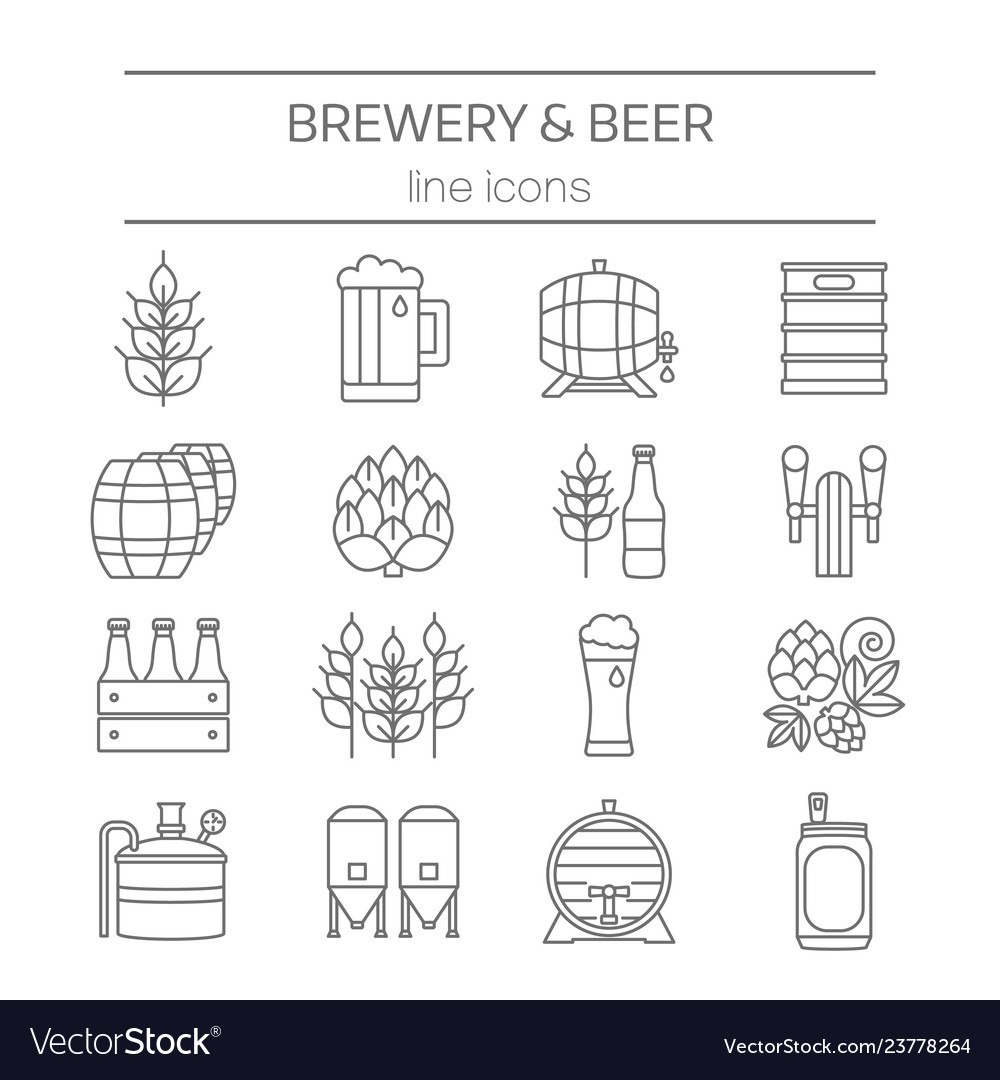 Beer and brewery line icons set