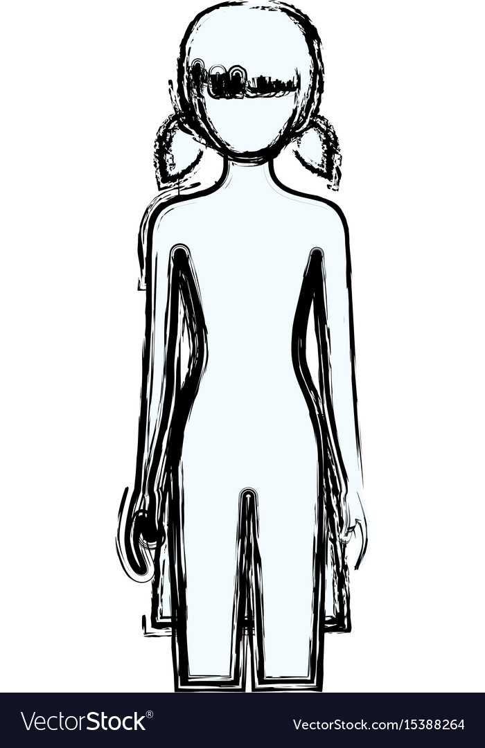 Blurred silhouette faceless front view girl naked vector image