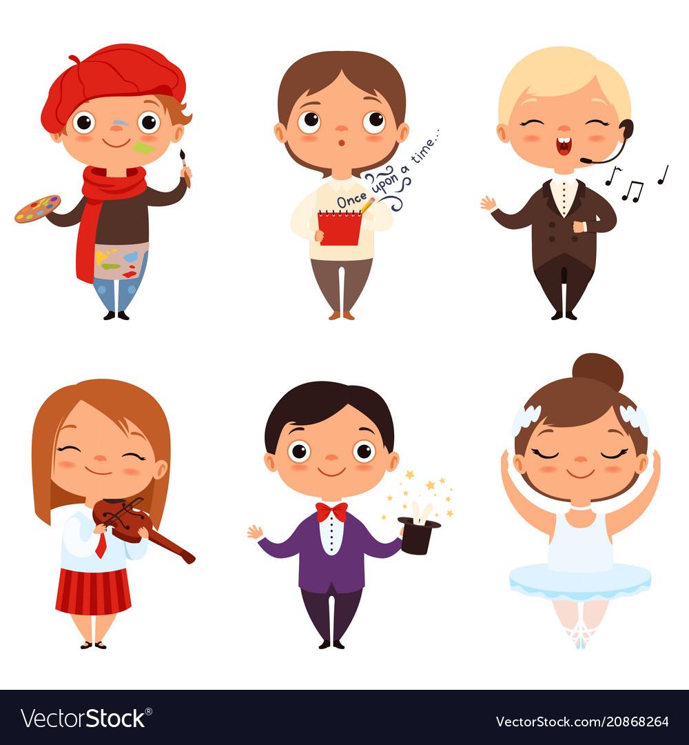Cartoon of various creative kids vector image